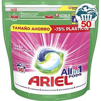 Ariel Detergente máquina líquido Sensaciones 3 en 1 Pods caja 50 cápsulas pack familiar caja 50 c