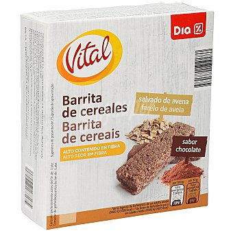 DIA Vital Barritas de cereales salvado de avena sabor chocolate Caja 6 barritas x 180 g