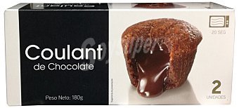 DELICIAS POSTRE COULANT DE CHOCOLATE (BIZCOCHO DE CHOCOLATE INTERIOR CON CHOCOLATE FUNDIDO) CAJA 2 u (180gr)