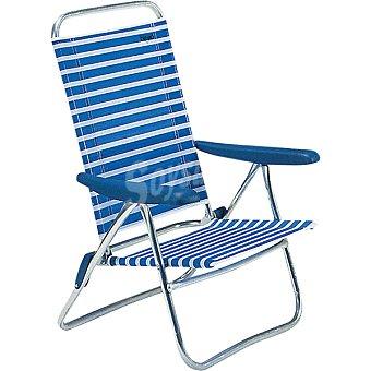 INDUAL Nytexline Silla de playa con varias posiciones que se convierte en hamaca con rayas azules y blancas