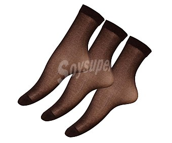 IN EXTENSO Pack de 3 pares de minimedias de espuma 20 den, color chocolate, talla única Pack de 3