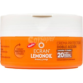 Ecran Lemonoil Broncea y protege crema protectora doble acción de zanahoria + vitamina C FP-20 tarro 200 ml resistente al agua Tarro 200 ml