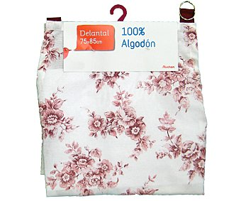 Auchan Delantal de algodón, estampado floral color rosa, 75x85 centímetros 1 Unidad