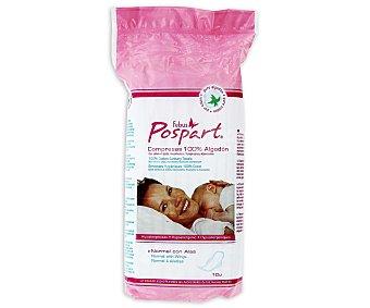 Pospart febus Compresas posparto normales con alas 100% algodón 10 unidades