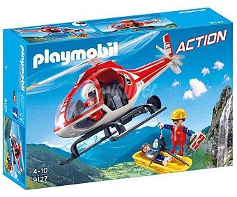 Playmobil Escenario de juego Helicóptero de rescate de montaña con figuras y accesorios, Action 9127 playmobil