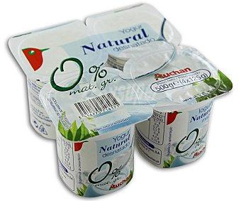 Auchan Yogur desnatado natural 0 % materia grasa con edulcorantes 4 unidades de 125 gramos