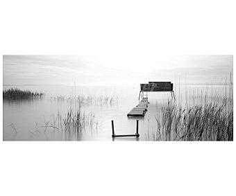 IMAGINE Cuadro con la imagen en blanco y negro de un embarcadero de madera y dimensiones de 45x120 centímetros 1 unidad