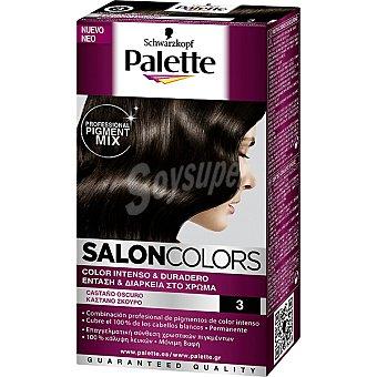 Schwarzkopf Palette tinte nº 3 Castaño Oscuro color intenso y duradero Salon Colors caja 1 unidad
