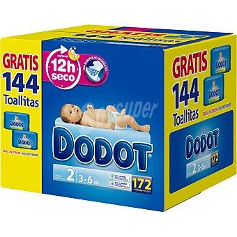 Dodot Pañales de 3 a 6 kg talla 2 172 unidades ( 2 cajas)