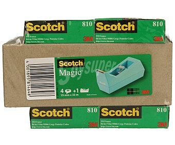 Scotch Lote de 4 rollos de cinta mágica transparente de 19 milímetros y 33 metros con dispensador 1 unidad