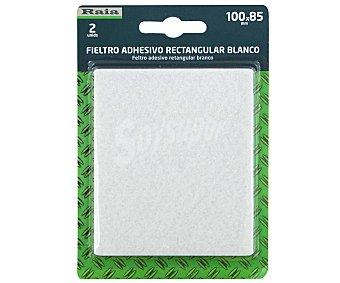 RAIA Fieltro Adhesivo Rectangular Doble, de Color Blanco de 100x85 Milímetros y Grosor de 3 Milímetros 1 Unidad