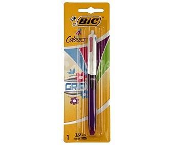 Bic Bolígrafo retráctil del tipo roller, grip suave, punta media con grosor de escritura de 1 milímetro y tinta líquida azul, rosa, azul claro y verde 1 unidad