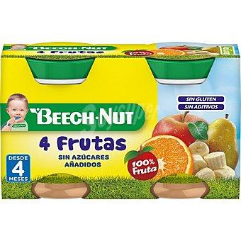 Beech-Nut Tarrito de cuatro frutas sin gluten y sin azúcares añadidos desde 4 meses Pack 2 tarro 130 g