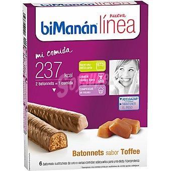 BIMANAN LINEA Mi Comida Batonnets sabor toffee sustitutivos 6 unidades envase 222 g 6 unidades