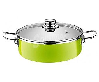 MONIX Cacerola baja de 20 centímetros de diámetro color verde lima, fabricada en acero esmaltado de 1,8 milímetros. Apta para inducción 1 unidad