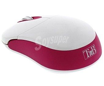 TNB CANDY Ratón sin cable Blanco/rosa , con tecnología de desplazamiento por LED óptico