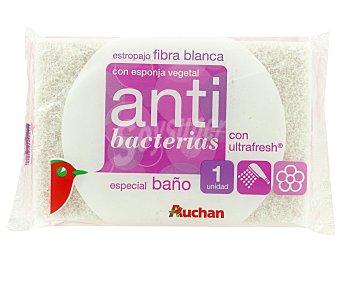 Auchan Estropajo Fibra Blanca con Esponja No Raya 1 Unidad