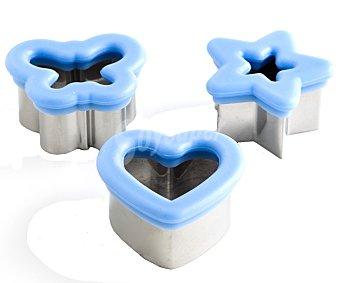 Ann col Set de 3 cortadores de masas, galletas, etc., con diferentes formas fabricados en acero y silicona Pack de 3 unidades