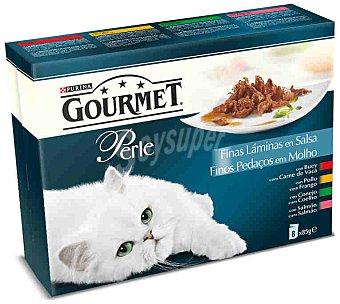 Gourmet Purina Comida para gato Perle selección finas láminas de carne y pescado en salsa pack 8 bolsa 85 g 8 bolsas de 85 g