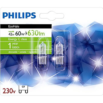 Philips Ecohalo 42 W (60 W) 2 lamparas eco halogenas G9 230 V
