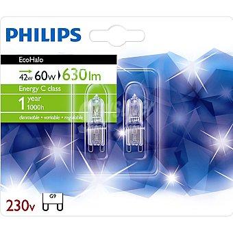 PHILIPS Ecohalo 42 W (60 W) 2 lámparas eco halógenas G9 230 V 2 l