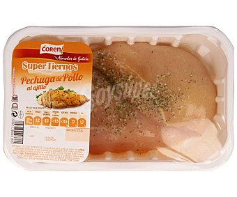 COREN Supertiernos Bandeja de pechuga de pollo al ajillo 350 Gramos Aproximados