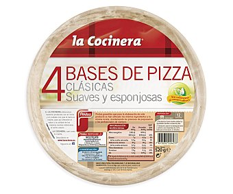 La Cocinera Base de pizza Pack de 4x130 g - 520 g