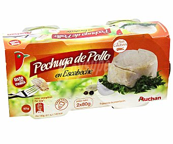 Auchan Pechuga de pollo en escabeche sin gluten 2x52 gramos