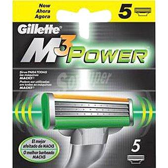 Gillette Recambio de maquinilla de afeitar  M3 POWER Estuche 5 unidades
