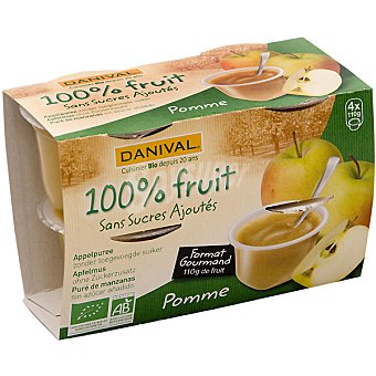 DANIVAL compota de manzana ecológica envase 440 g pack 4x110g