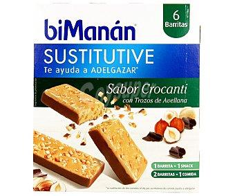 Bimanan Barritas con sabor a crocanti con trocitos de avellana que te ayuda a adelgazar 6 unidades