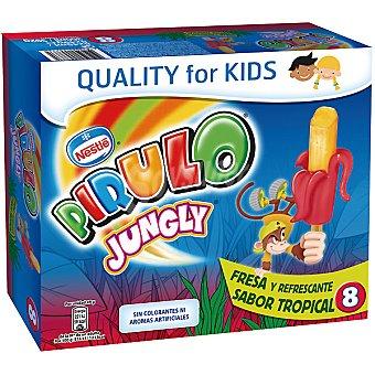 Pirulo Nestlé Polo Pirulo Jungly Sabor Fresa y Tropical 8 Unidades de 45 Mililitros