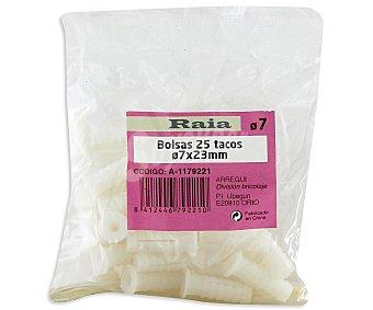 RAIA Bolsa de 25 Tacos de Color Blanco, 23x7 Milímetros 1 Unidad