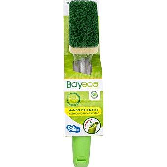 Bayeco Estropajo fibra verde con mango con dispensador de detergente blister 1 unidad 1 unidad