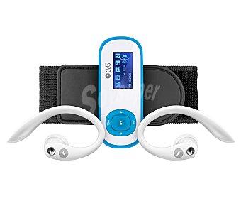 SPC INTERNET 8608A Reproductor MP3 8GB de capacidad, sintonizador de radio FM, clip deportivo y brazalete deportivo. Color azul