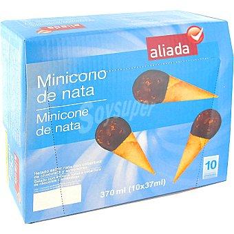 Aliada Minicono con helado de nata y cobertura de chocolate y almendra estuche 370 ml 10 unidades