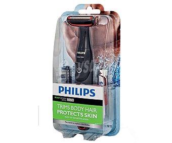 PHILIPS BODYGROOM, Afeitadora corporal uso en seco o húmedo, peine guía de 3mm, protector para la piel, alimentación con pila AA