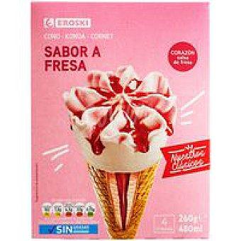 Eroski Basic Cono de fresa Pack 4x120 ml