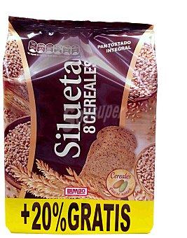 Silueta Bimbo Pan tostado integral 8 cereales Paquete 250 g