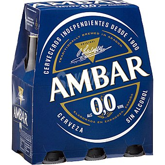 Ambar Green Cerveza 0,0 sin alcohol pack 6 botella 25 cl Pack 6 botella