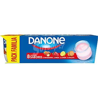 DANONE Yogur sabores 2 fresa+ 2 macedonia + 2 limón+ 2 galleta 8 unidades de 120 g
