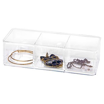 Organizador de joyas rectangular y transparente