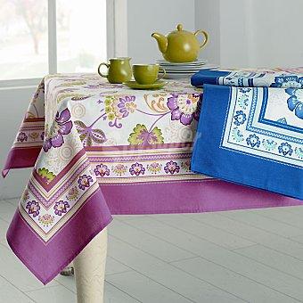 CASACTUAL Tania Mantel cuadrado con estampado de flores en color azul