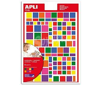 APLI Hoja de gomets adhesivos y removibles multicolor, basados en formas cuadradas de diferentes tamaños 6 unidad