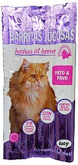 LUCY Comida gato snack barrita jugosa pato y pavo Paquete 10 unidades de 5g (50gr)