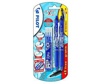 Pilot Set de 2 bolígrafos retráctiles del tipo roller, de grip suave, punta media con grosor de escritura de 0.7 milímetros, tinta líquida borrable azul y 3 recargas 1 unidad