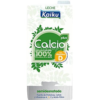 Kaiku Plus leche semidesnatada con calcio natural 100% procedente de la leche con vitamina D Envase 1 l