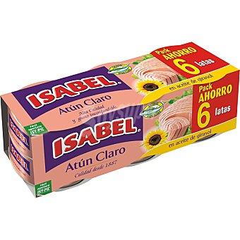Isabel Atún Claro en aceite de girasol alto oleico 6 latas de 52 g