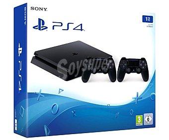 Sony Videoconsola Playstation 4 edición Slim con disco duro de 1TB, incluye 2 mandos Dualshok 4, sony