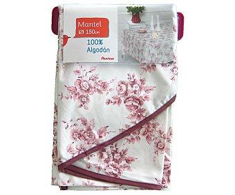 AUCHAN Mantel redondo estampado floral color rosa, 150 centímetros 1 Unidad